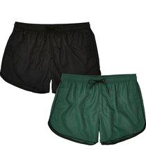 river island mens khaki & black swim shorts 2 pack