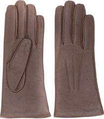 n.peal short leather gloves - brown