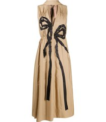 nº21 ribbon bow midi dress - neutrals