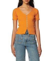 women's sandro oceane ribbed sweater, size 4 - orange