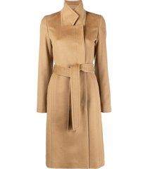 boss belted wool coat - brown