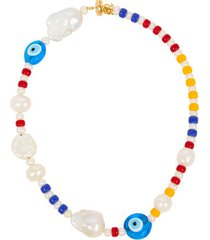 beaded pearl-embellished necklace