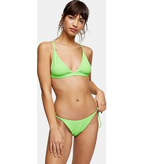 lime green crinkle high bikini bottoms - lime