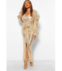 plus sequin puff sleeve tie waist wrap maxi dress, gold