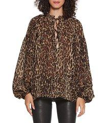 walter baker women's theima balloon-sleeve top - leopard - size l