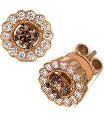 le vian chocolatier chocolate diamond (3/8 ct. t.w.) & vanilla diamond (3/8 ct. t.w.) halo stud earrings in 14k rose gold