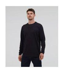 camiseta comfort em algodão peruano manga longa básica | marfinno | preto | g
