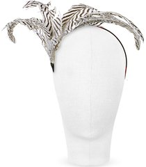 nana' designer women's hats, beverly - black and white feather flower headband