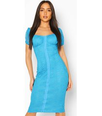 kanten jurk met blote schouder en haak-en-oogsluiting, turquoise
