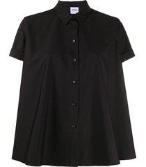 aspesi flared short sleeve shirt - black