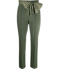 elisabetta franchi cropped bow detail trousers - green