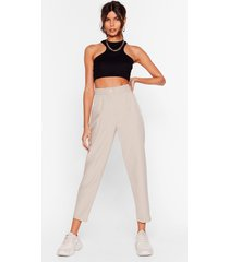 womens it's just business high-waisted tapered pants - stone