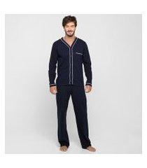 pijama longo lupo abertura masculino