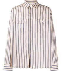 tom wood flap-pocket pinstripe shirt - neutrals