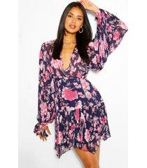 geplooide mini-jurk met bloemenprint en chiffon, marineblauw