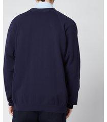 kenzo men's tiger crest v-neck cardigan - navy blue - xl