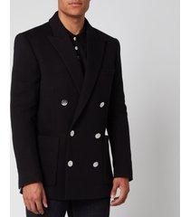 balmain men's double breasted fleece blazer - black - 52/l