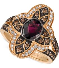 le vian chocolatier rhodolite garnet (1 ct. t.w.) and diamond (5/8 ct. t.w.) statement ring in 14k rose gold