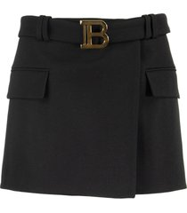 balmain short black wool low-rise skirt