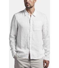 long sleeve linen pocket shirt