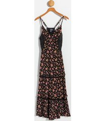 alice floral tiered maxi dress - black