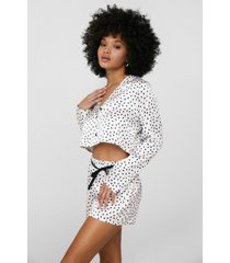 womens dream a little dream spotty shorts pajama set - cream