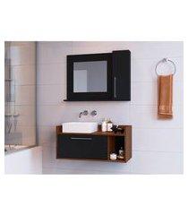 conjunto para banheiro bangkok i com gabinete suspenso 2 pt preto e marrom