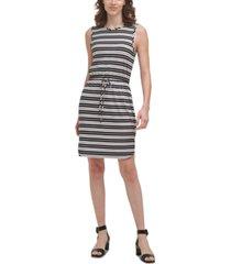 calvin klein striped tie-waist dress