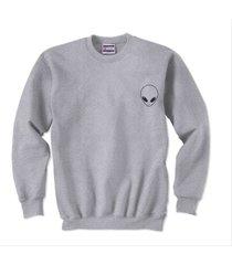 alien pocket printed on unisex crewneck sweatshirt light steel size s to 3xl