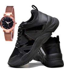 tãªnis sapatãªnis plataforma fashion com relã³gio gold dubuy 732el preto - preto - feminino - sintã©tico - dafiti