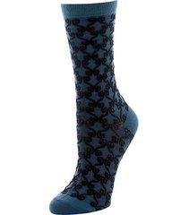 etched geometric crew socks