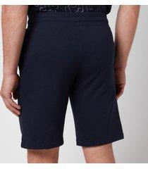 emporio armani men's all over logo terry bermuda shorts - blue - l