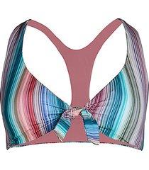 adelaide multi-stripe rib tie-front bikini top