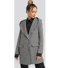 trendyol black goose leg patterned hooded coat - black