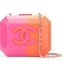 chanel pre-owned structured logo crossbody bag - pink