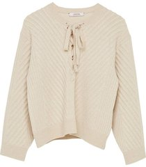 urban breath lace-up wool-blend sweater