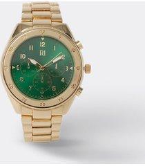 river island mens gold colour emerald face watch