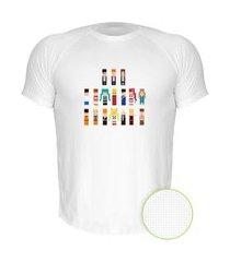camiseta air nerderia e lojaria 8bit personagens branca