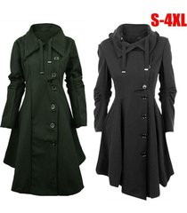 fashion women lady button closure irregular hem long trench coat black cloak win