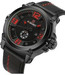 reloj deportivo militar hombre naviforce 9099 negro rojo