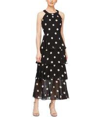 sl fashions tiered dot-print maxi dress