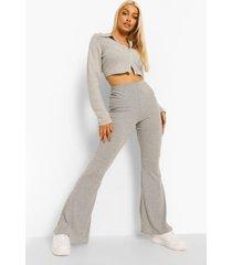 zachte geribbelde broek met wijd uitlopende pijpen, silver grey