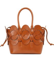 small italian leather 8 knot tote