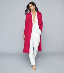 reiss lianna - linen blend duster coat in magenta, womens, size 10