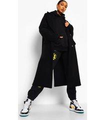 oversized nepwollen jas met naaddetail, black
