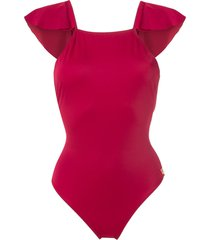 brigitte ruffled back swimsuitsw - red