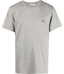 maison kitsuné grey fox head patch classic tee-shirt