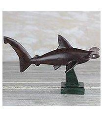 ebony wood sculpture, 'hammerhead shark' (ghana)