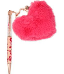 betsey johnson rose gold-tone lips & multi-stone pom-pom heart charm pen