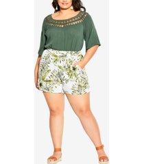 city chic trendy plus size paradise palm shorts
